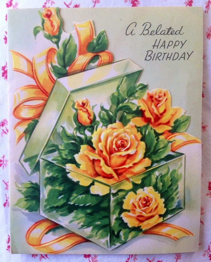 Details About Vintage 1940s Embossed Belated Birthday Card Pink