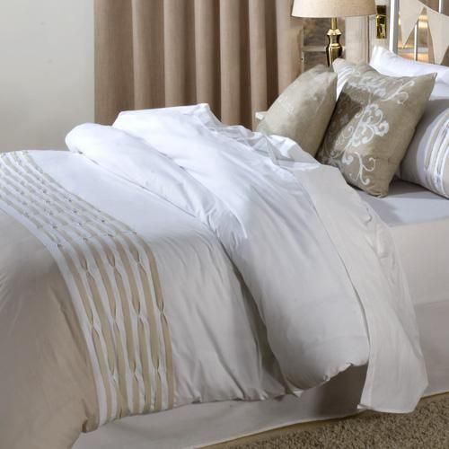 White and natural embellished | Pin-tuck detail | With matching pillowcase(s) | Machine washable