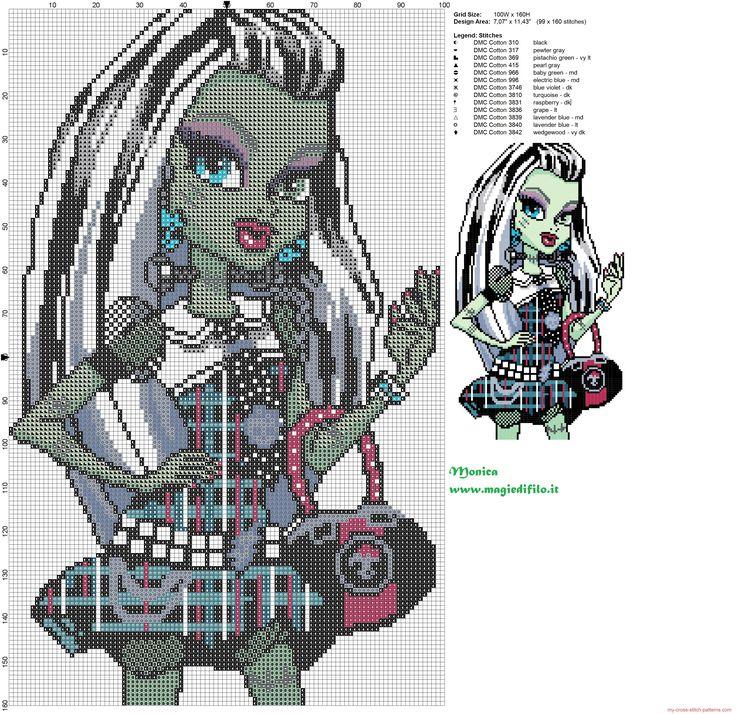 Frankie Stein (Monster High) cross stitch pattern