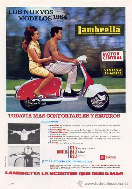 Antiguo anuncio de publicidad de LAMBRETTA 175 tv, 150 li y 125 li - original 1964 - con foto color