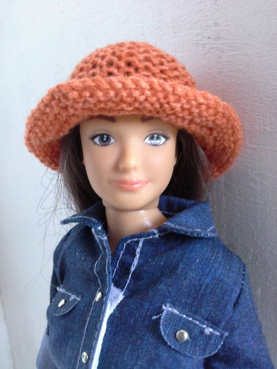 Knitted brimmed hat for Barbie and Lammily made by magicalcrumbs
