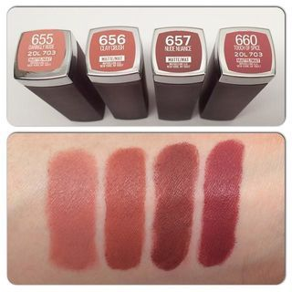 I've got some comparison swatches coming your way! Some of y'all had questions about how the new shades of the @maybelline Creamy Mattes compare to the originally released ones. Here are some neutral comparisons for you! #maybellinecreamymatte #maybelline #maybellinecreamymattes #creamymatte #creamymattes #newcreamymattes #newatthedrugstore #newdrugstoremakeup #youtuber #beautyblogger #beautyvlogger #swatches #claycrush #touchofspice