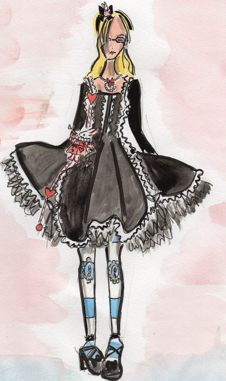 Alice in Wonderland cosplay 2014. Drawing by Trish Chamberlain. Dress by Hell Bunny.