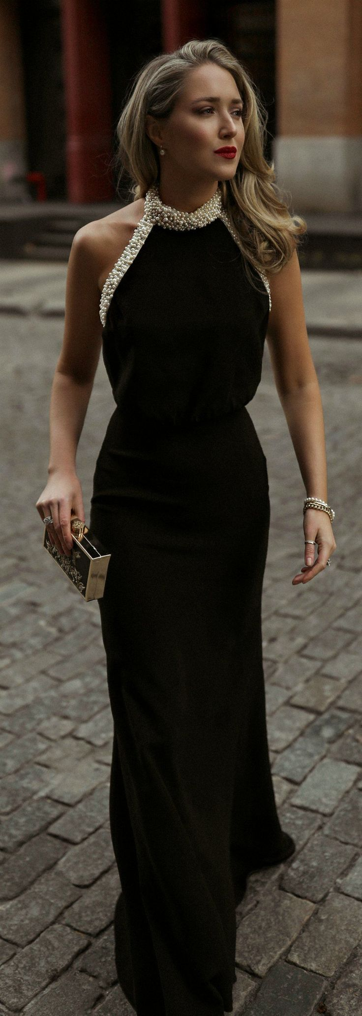 30 Dresses 30 Days Day 17 Corporate Charity Black Backless Gown With A Glamorous Pearl Encrusted Halter Neck Blac Long Black Dress Gala Dresses Fashion [ 2061 x 736 Pixel ]