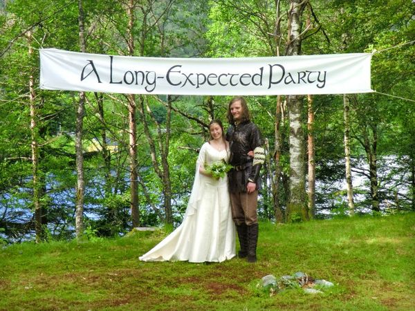 """A Long Expected Party"" - Lord of the Rings Hobbit theme wedding banner"