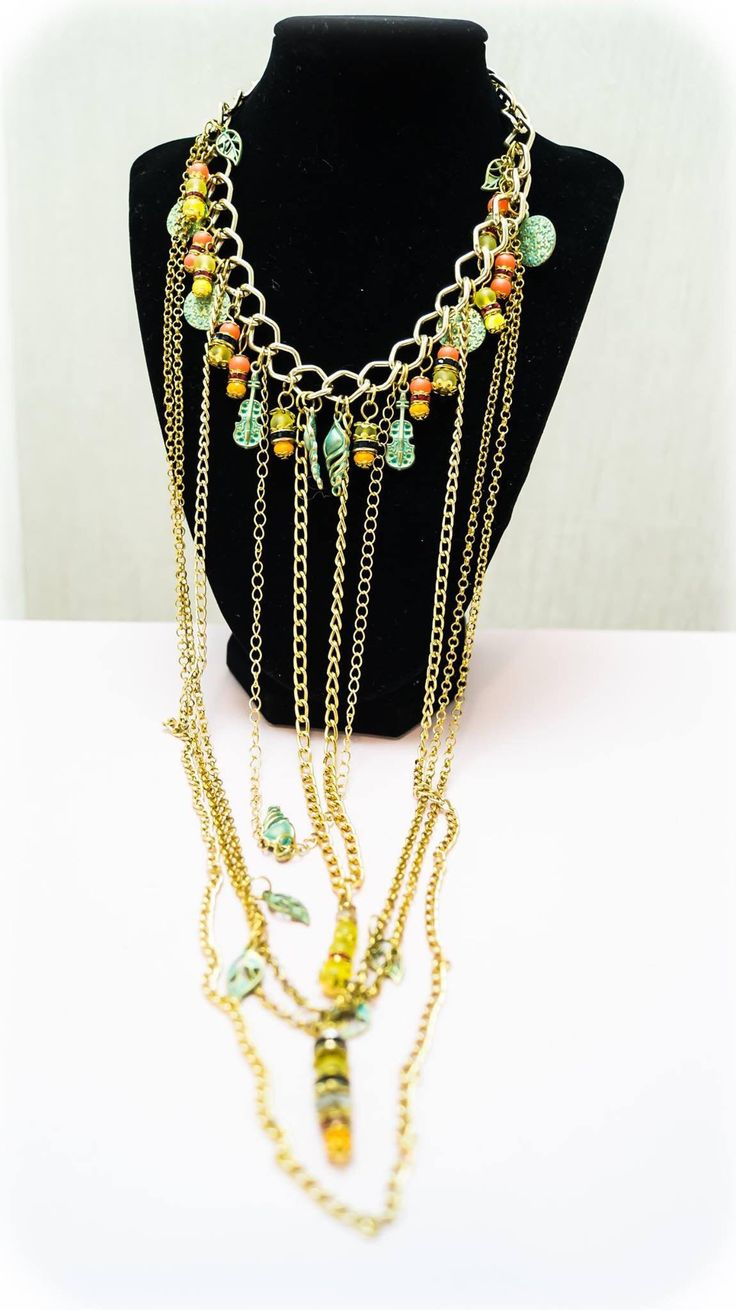 Excited to share the latest addition to my #etsy shop: Necklace 34 http://etsy.me/2Ddh7aL #jewelry #necklace #no #women #gold #green #jewellery #accessorieswoman #luxuriousjewellery