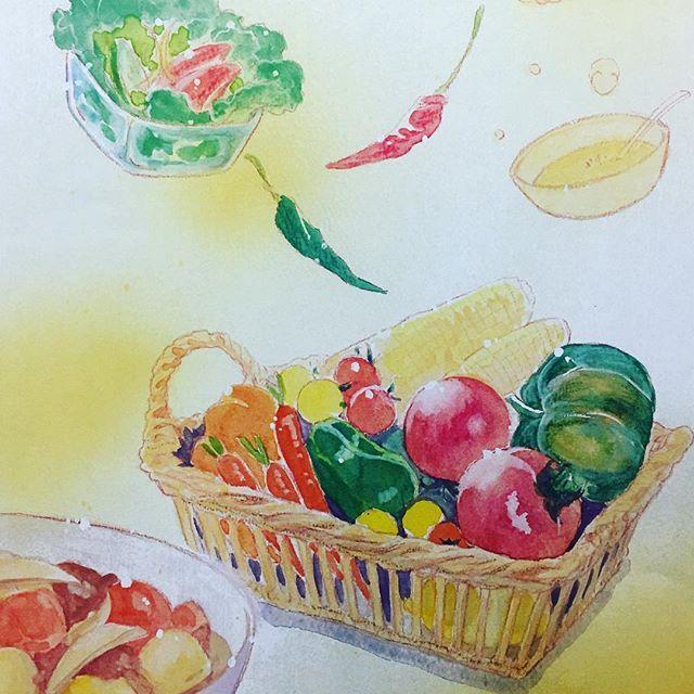 食事を扱ったマンガを描いた時のカラーページ。おいしい見えたらいいなと思いながら描いた記憶(*^^*) #イラスト #illustration #art #food #もとp #水彩 #食 #manga #漫画 #comicfukudamotoko2018/01/12 02:36:07