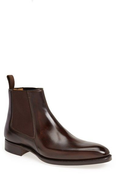 $535, Dark Brown Leather Chelsea Boots: Carlos Santos Gustava Chelsea Boot. Sold by Nordstrom. Click for more info: https://lookastic.com/men/shop_items/81097/redirect