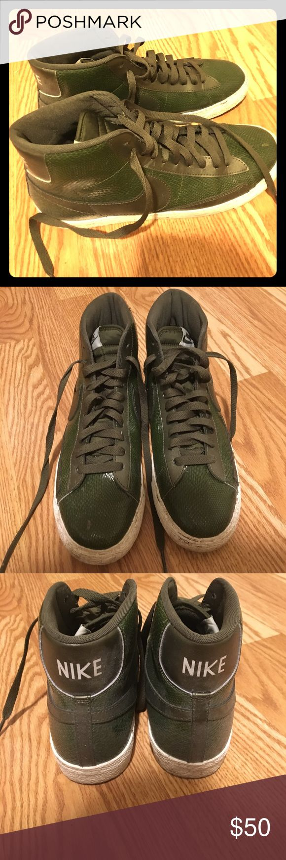 Nike Dunks Nike Dunks, originally $118. Almost like new - worn a few times, but no major damage or dirt. Olive green. Nike Shoes Sneakers