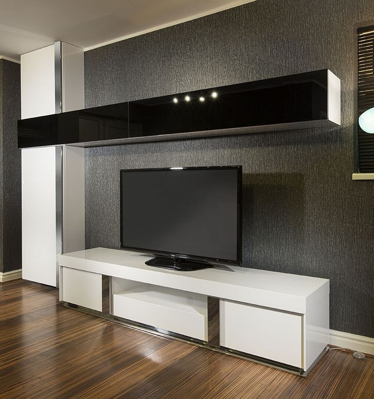Entertainment Storage and Display Unit.  White and Black high gloss.