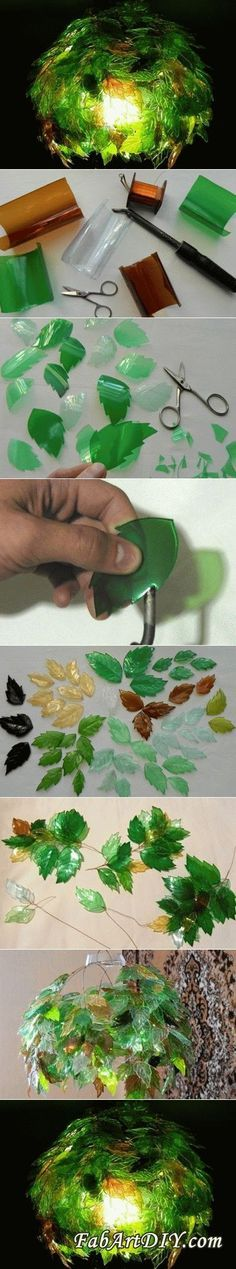 DIY Leaf Lamp Shade from Plastic Bottles