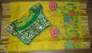 Elegant Yellow Kota Saree With Mirror Blouse | Buy online sarees | Elegant Fashion Wear
