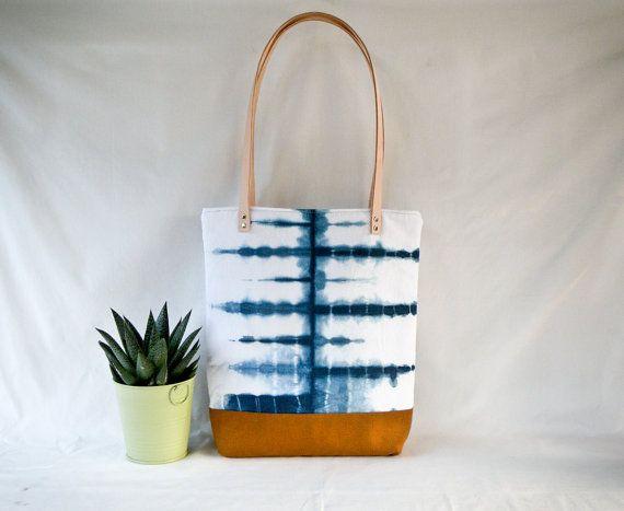 Shibori Tote Bag  Indigo Dye Canvas Shoulder Bag  by 162PENS, $85.00