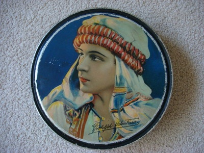 "Silent Star Rudolph Valentino Antique Tin Canco Beaute Box 10"" Wide 1920'S 