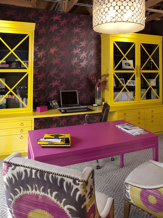 Decor, Ideas, Offices Design, Chairs, Offices Spaces, Desks, Colors Schemes, Contemporary Home Offices, Yellow