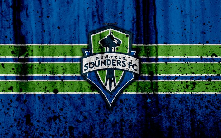 Download wallpapers 4k, FC Seattle Sounders, grunge, MLS, soccer, Western Conference, football club, USA, Seattle Sounders, logo, stone texture, Seattle Sounders FC