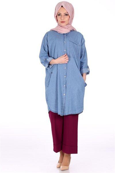Cepli Kot Gömlek 0823 - Mavi Takım Modelleri - Kirazgiyim.com