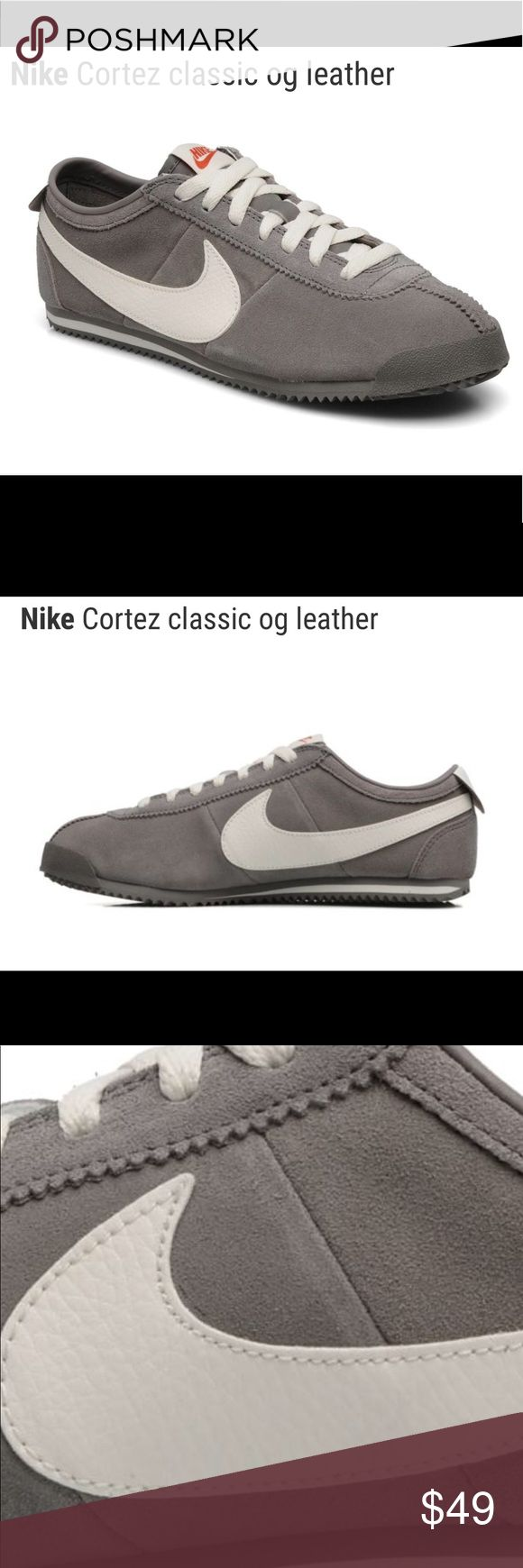 Nike leather men's Cortez grey Classic OG shoes Brand NEW NIKE LEATHER CORTEZ shoes with tags attached. Sharp sail grey with white swoosh and trim. Suede leather. Extremely comfortable shoes. See last photo of these style shoes being used in The Karate Kid movie with by Daniel Russo. Very hot style this year and hard to find!  (Original shoe box not included)  Retailed $60 Nike Shoes Sneakers