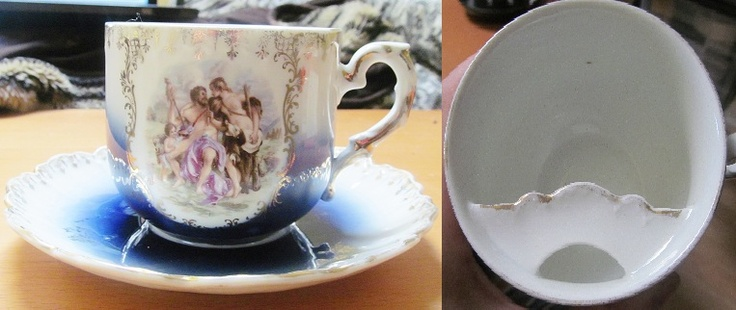 Got this at the antique 1898 Mustache Cup Bavarian for 20, worth 80. The Temptation of Hercules