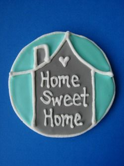 housewarming cookies - I could do squares & make them like little welcome mats!