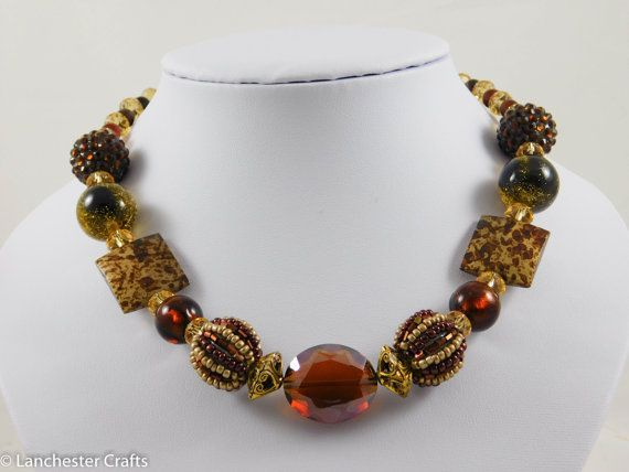 Chunky Brown Shades Necklace and Earrings - Handmade - Faceted Glass, Bead Balls, Large beads