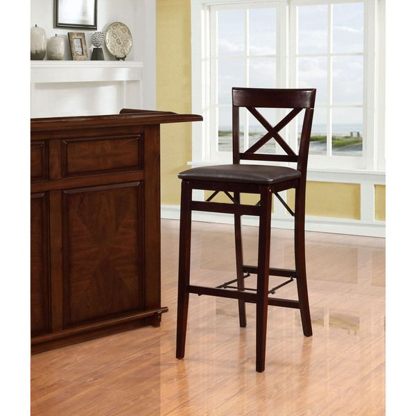 Linon Carla X Back Folding Bar Stool By
