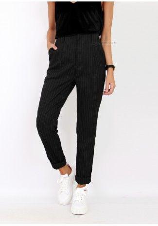 426c6d6263976 Pantalon rayé noir - Outfitbook | style | Casual, Pants et Fashion