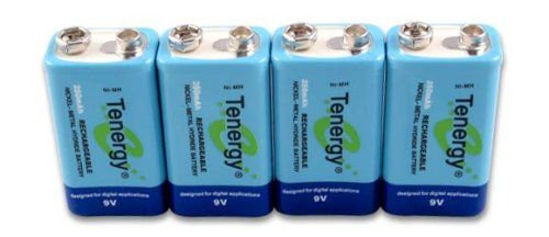 Tenergy 4 pieces of 9V 250mAh NiMH high capacity rechargeable Battery $14.24+Amz
