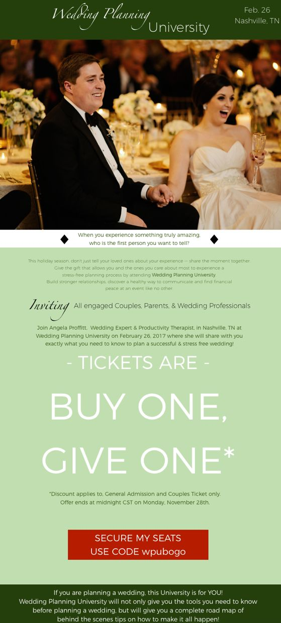 Black Friday starts TODAY for Wedding Planning University!  Buy One & Give One; Give the best gift EVER, Stress-FREE wedding planning!