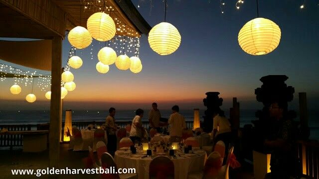Wedding dinner with spectacular sunset view
