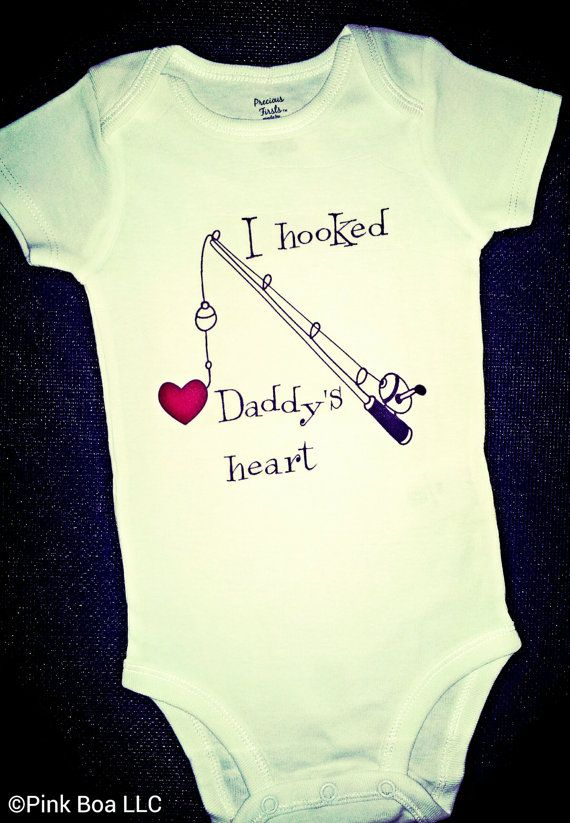 I HOOKED DADDYS HEART Funny T Shirt Funny Onesie by ThePinkBoa, $16.00