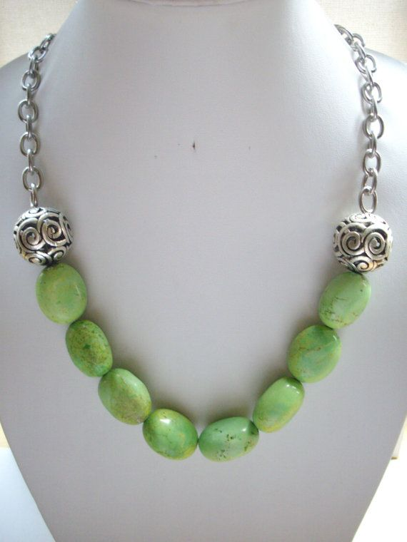 SALE Apple Green Semi Precious Stones with Large Carved Silver Ball Connectors