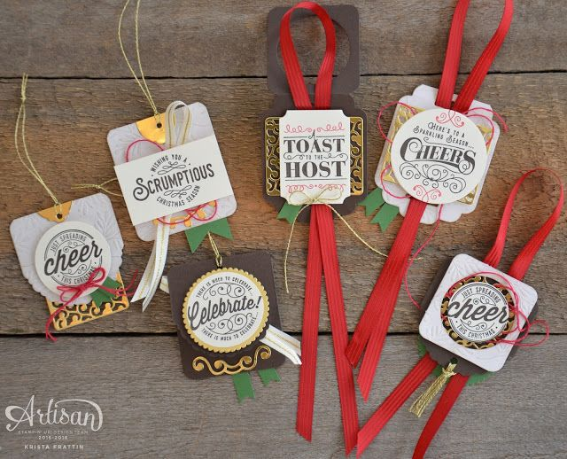 Wine bottle tags made easy with Stampin' Up!'s Cheerful Tags Framelits - Krista Frattin