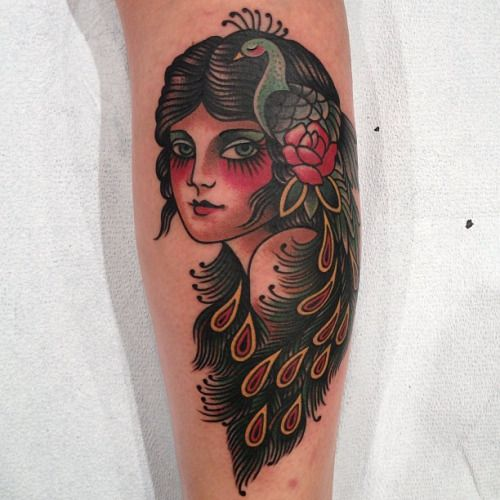 18 Radiant Traditional Peacock Tattoos | Tattoodo.com