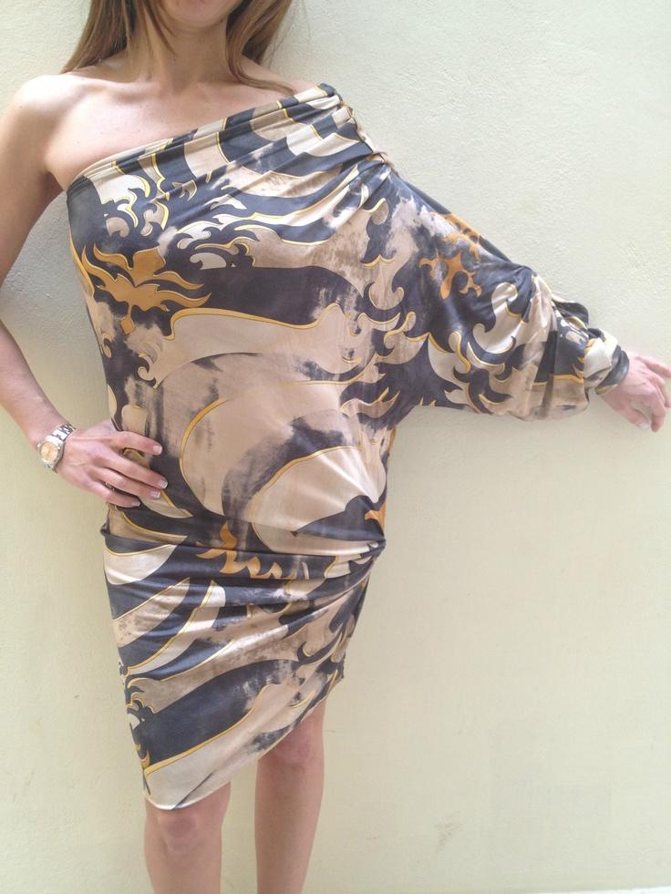 Auth Emilio Pucci multicolor silk spandex drape one shoulder dress NWT sz 40   eBay