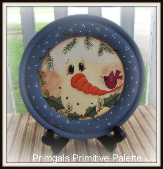 Primitive Snowman Wood Plate Holly Home Decor Decoration Hand Painted