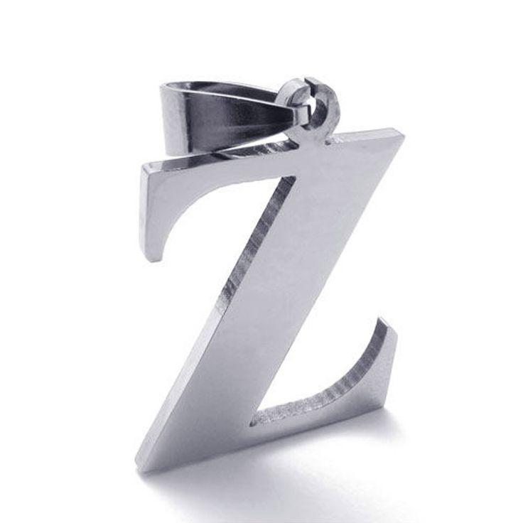 Vintage 26 de la letra inicial Z alfabeto colgante , collar para hombres y mujeres acero de titanio de acero del ahogador de la joyería Pingente Collares(China (Mainland))