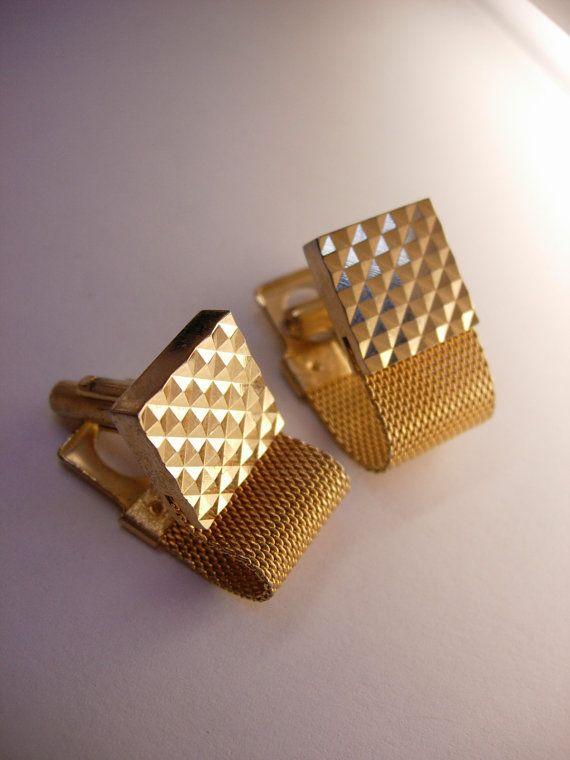 Vintage Diamond Pyramid Cufflinks Wrap Mesh Business Wedding