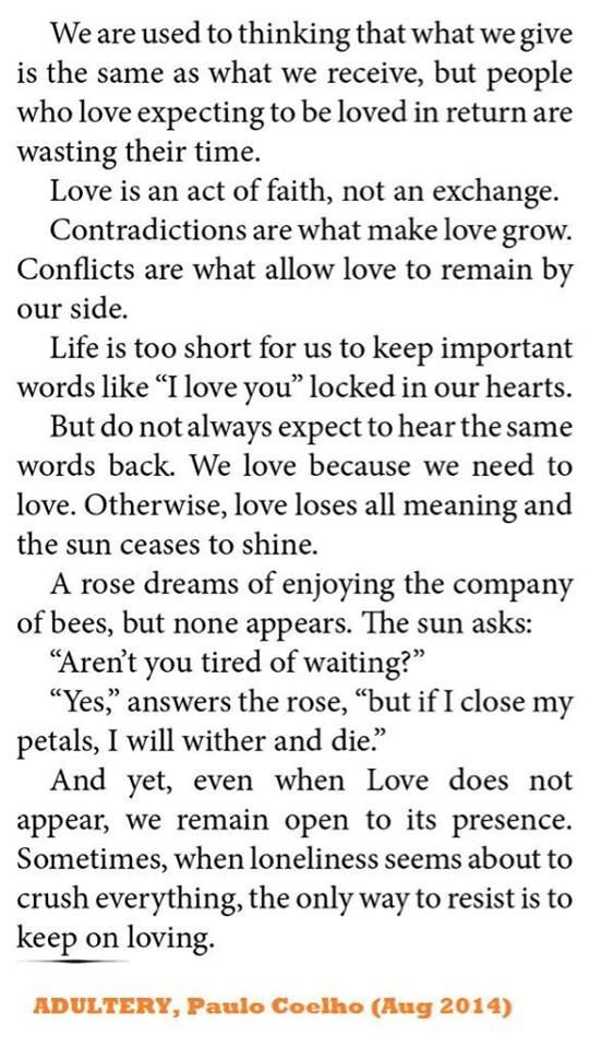 From my fave author Paulo Coelho's new release 'Adultery'