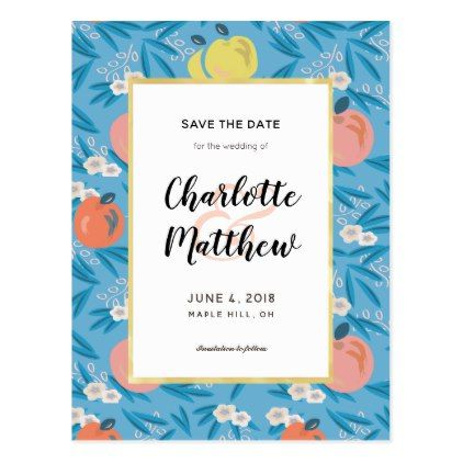 Apple Floral Sky Blue Pink Save the Date Postcard - save the date gifts personalize diy cyo