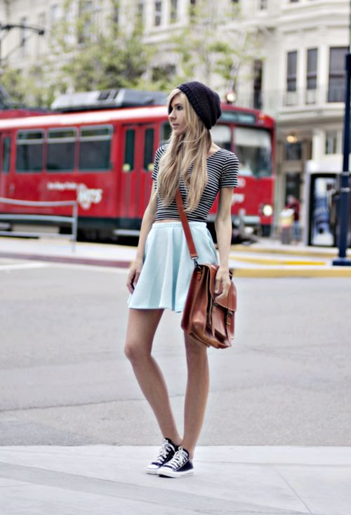 Beanie - Urban Outfitters, Top - American Apparel, Skirt - Chicwish, Satchel - Grafea, Shoes - Converse