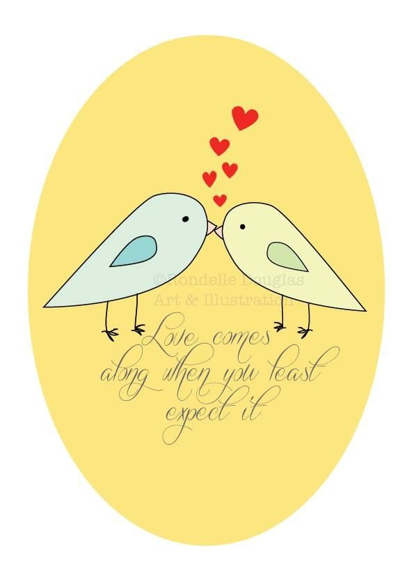 Love bird illustration I made on the weekend.  Digital formal available now www.rondelle.etsy.com