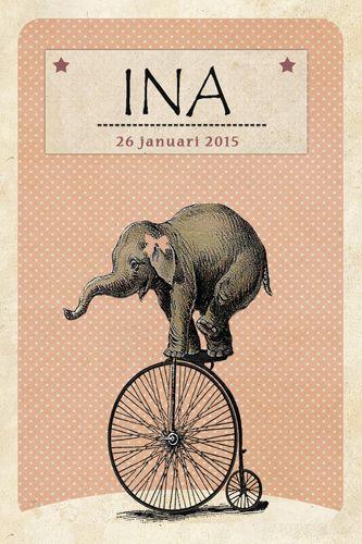 Geboortekaartje meisje - Lief olifantje op een fiets - Pimpelpluis https://www.facebook.com/pages/Pimpelpluis/188675421305550?ref=hl (# olifant - circus - fiets - retro - dieren - strik - lief - vintage - schattig - origineel)