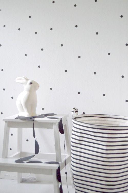 PFR Design - Inspired Living loves this polka dot wallpaper and bunny night light. So charming.