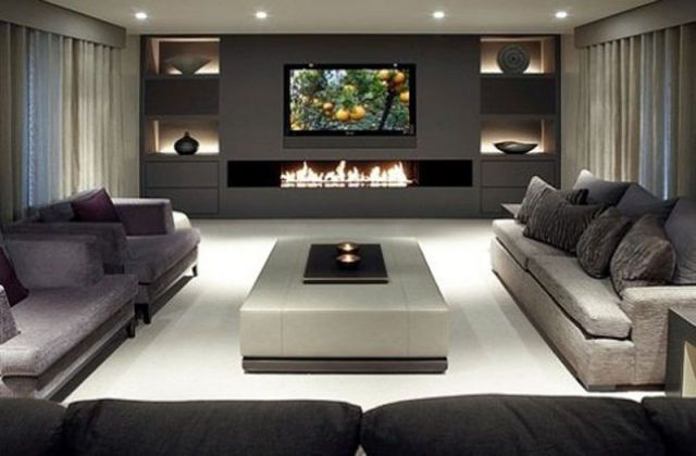 modern glamour at it's best! Stunning fireplace Wall!