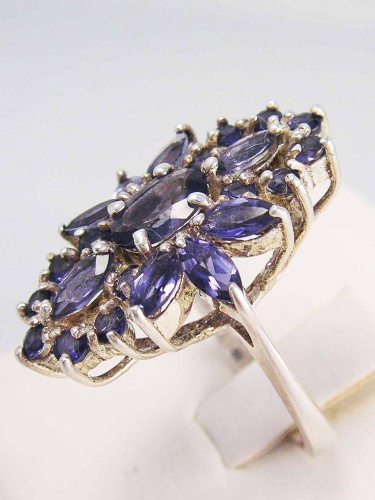 MEGA GLAM! Vintage Sterling Silver AMETHYST GEMSTONE CLUSTER COCKTAIL RING 925