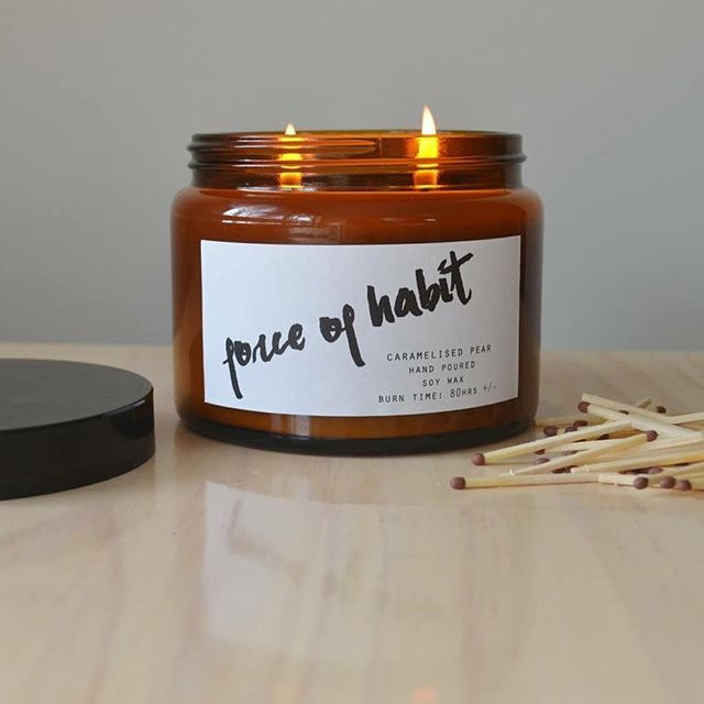 Loving the fact that we get to sample the products for ourselves #caramelisedpear #forceofhabit #candles