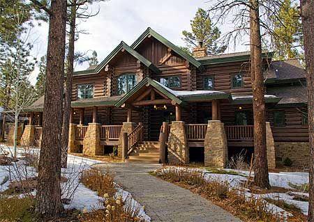 plan 18773ck ideal mountain retreat craftsman logs and luxury - Luxury Mountain Log Home Plans