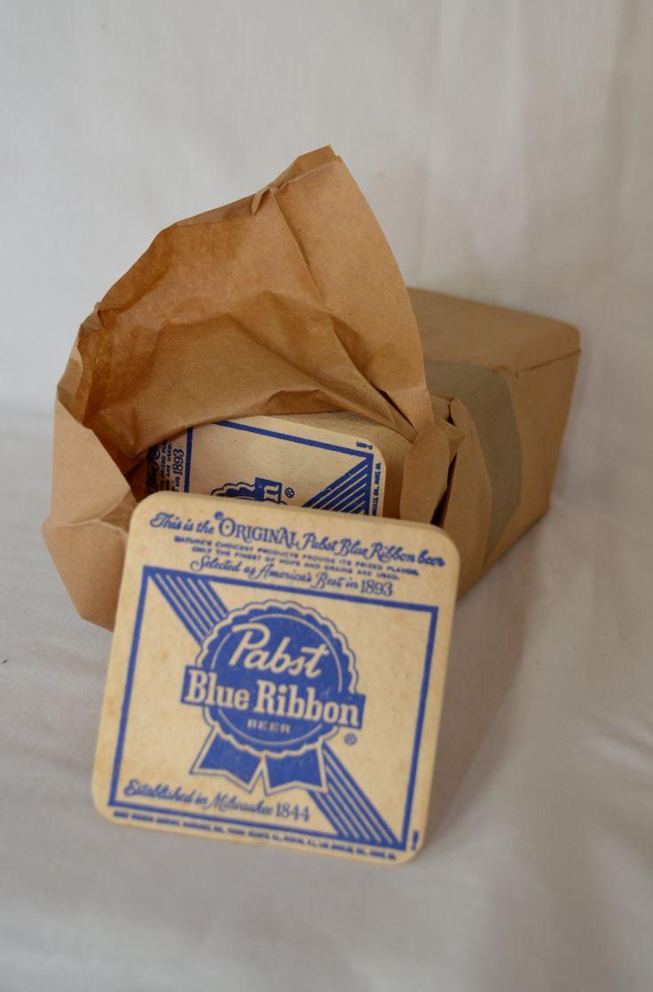Vintage pabst blue ribbon beer cardboard coasters pack of 200 new unused 1970 39 s vintage beer - Cardboard beer coasters ...