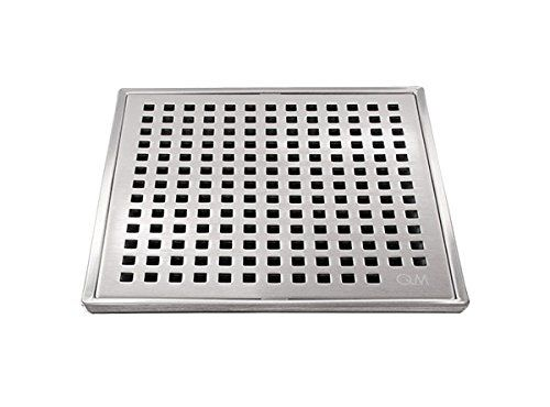 QM Square Shower Drain, Grate made of Stainless Steel Marine 316 and Base made of ABS, Lagos Series Mira Line, 5 inch 3/4, Satin Finish, Kit includes Hair Trap/Strainer and Key